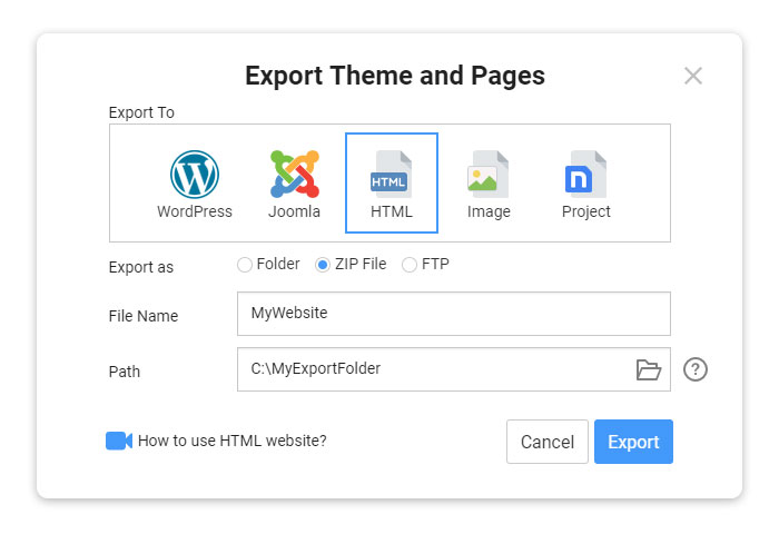 Export Static Website to HTML, WordPress, and Joomla
