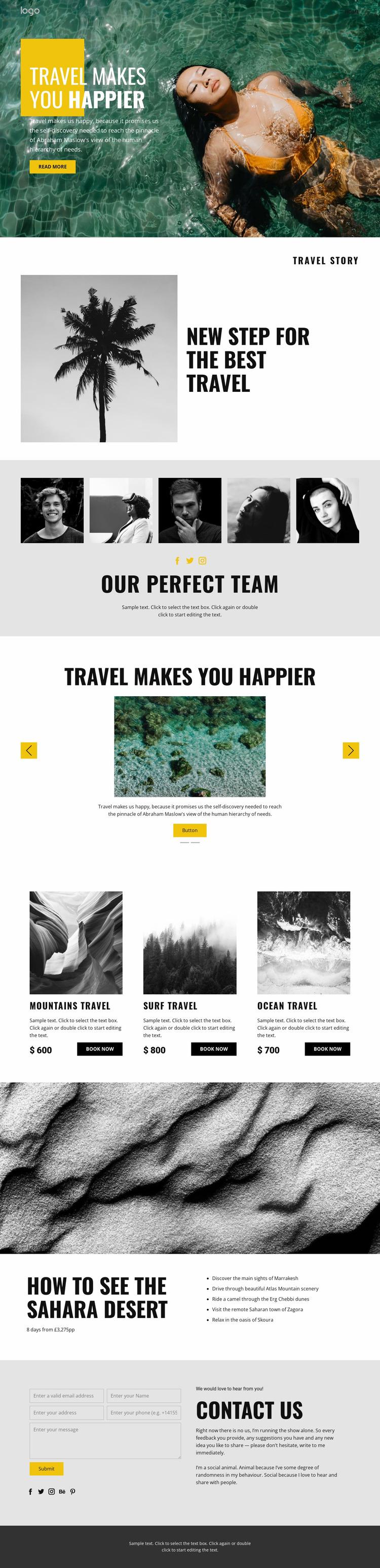 Happy people deserve travel Website Mockup