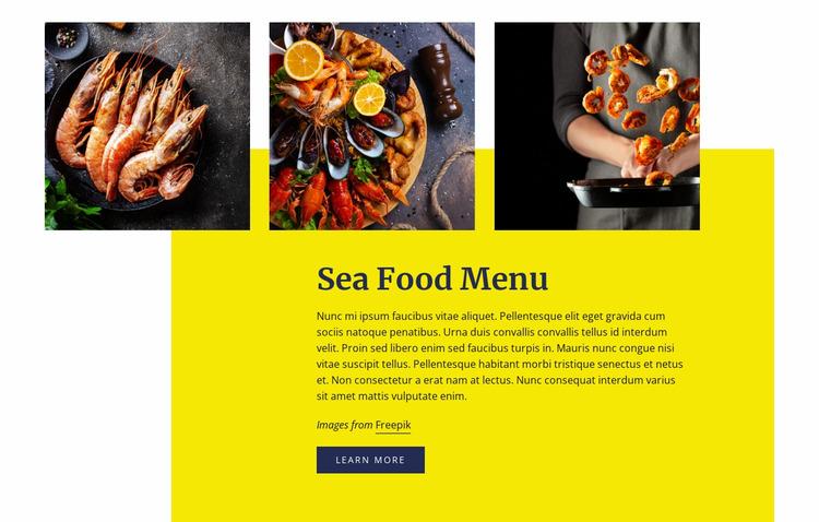 Sea Food Menu Website Mockup