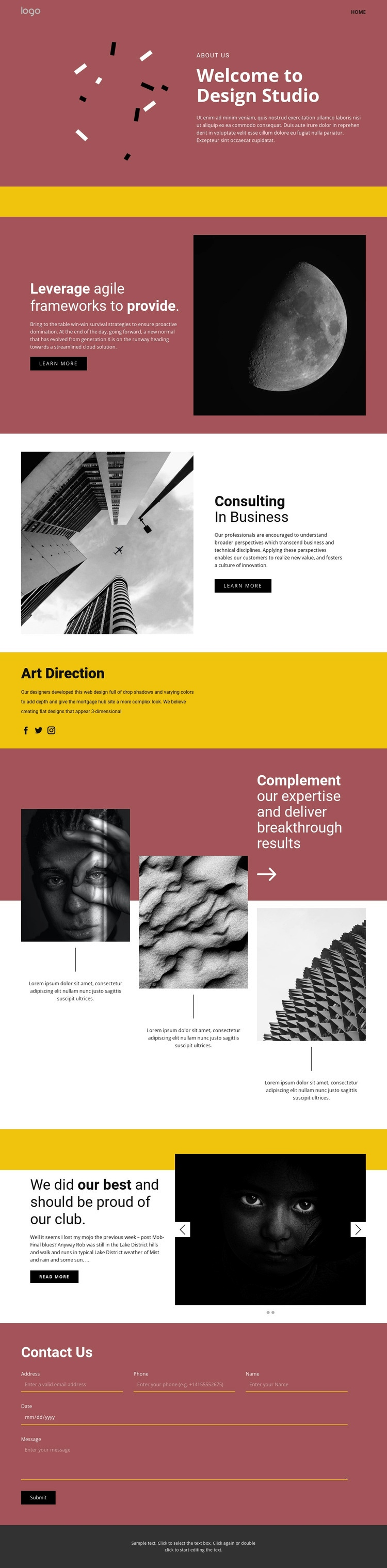 Studio of expressive art Html Code Example