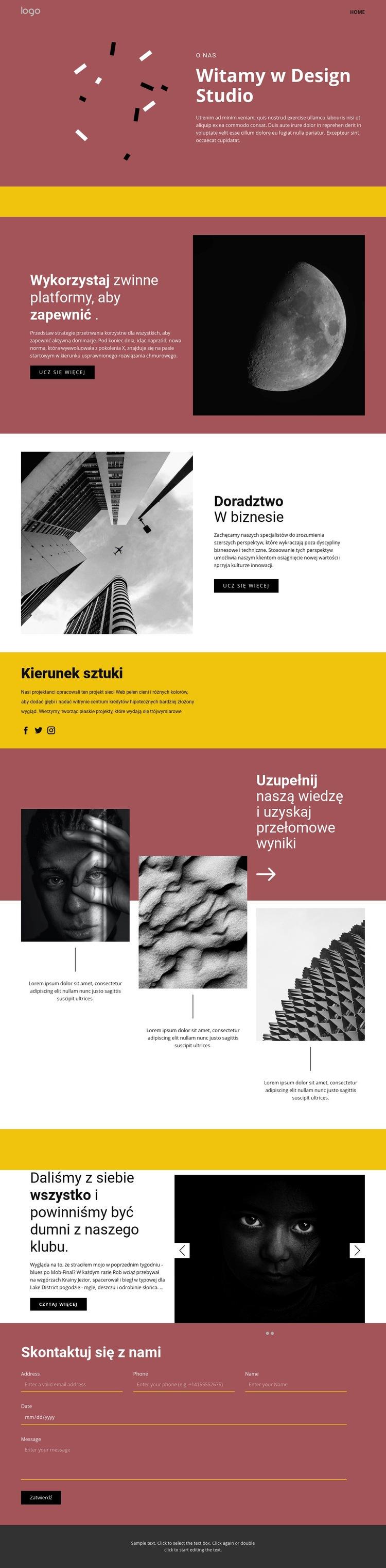 Studio sztuki ekspresyjnej Szablon witryny sieci Web