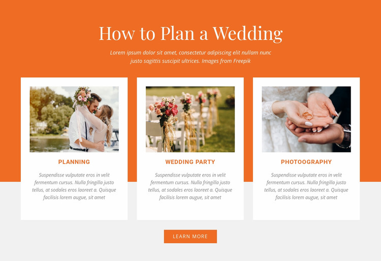How to Plan a Wedding Website Mockup