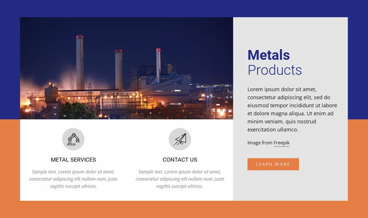 Metals Products Website Mockup