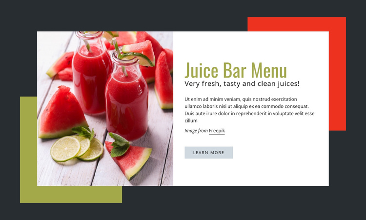 Very fresh, tasty juices One Page Template