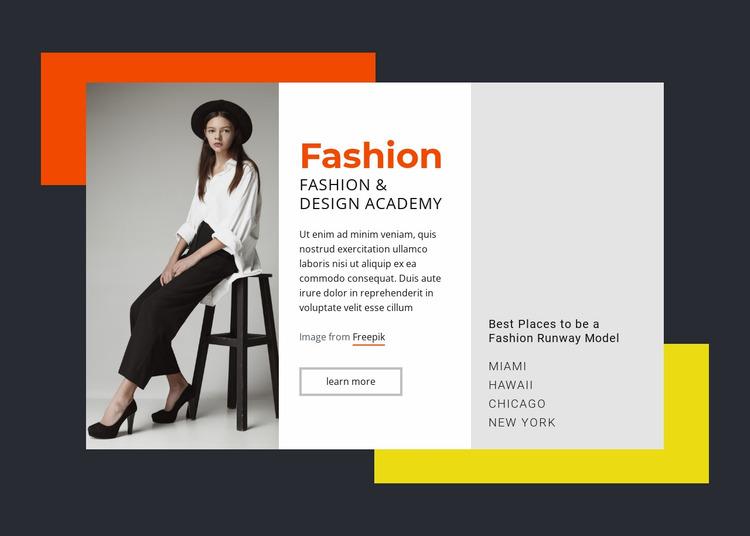 Fashion and Design Academy Website Mockup