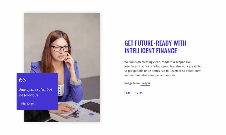 Get future-ready with intelligent finance Website Template