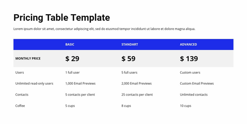 Pricing table with colored header Web Page Design