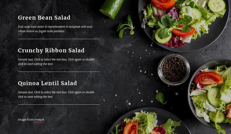 Vegetarian Restaurant Menu Web Page Designer