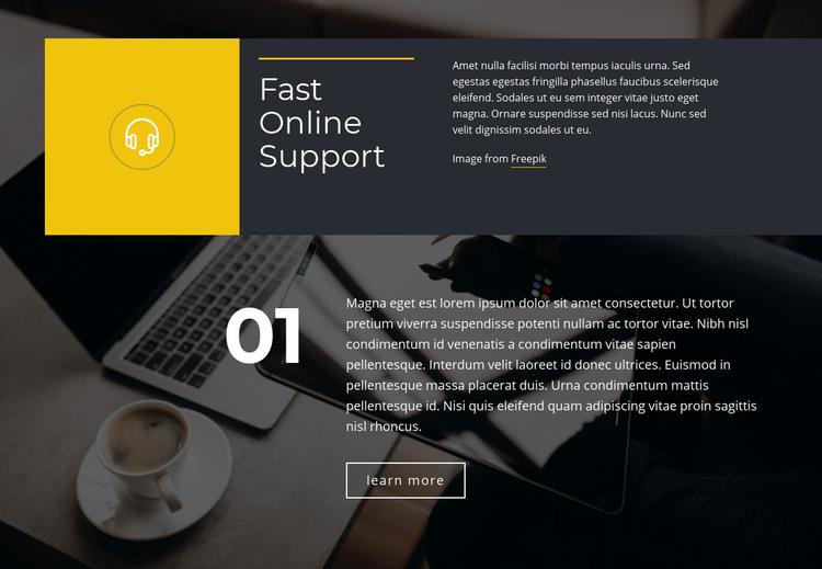 Fast Online Support Homepage Design