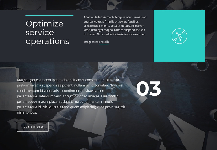 Optimize service operations One Page Template