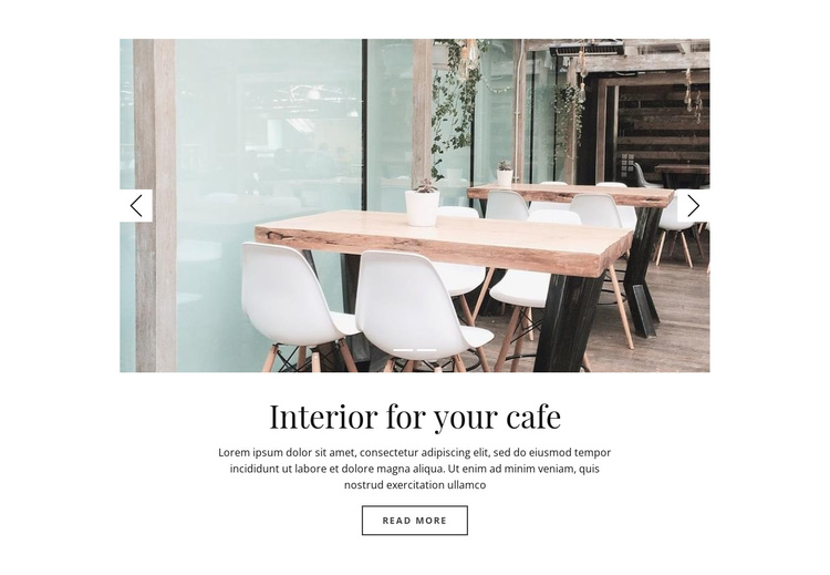 Interior for your cafe One Page Template