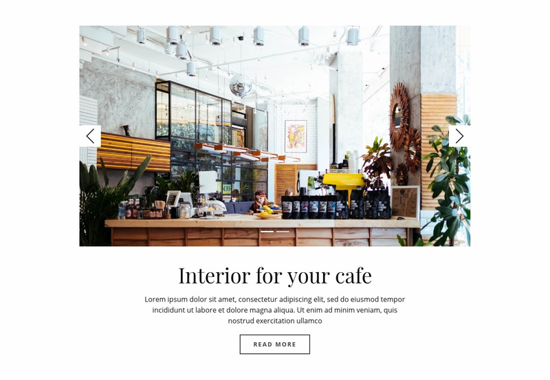 Interior for your cafe Web Page Design