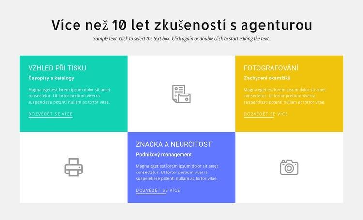 10 let zkušeností s designem Šablona webové stránky