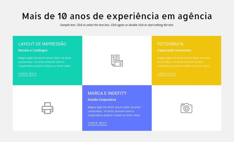 10 anos de experiência em design Modelo de site