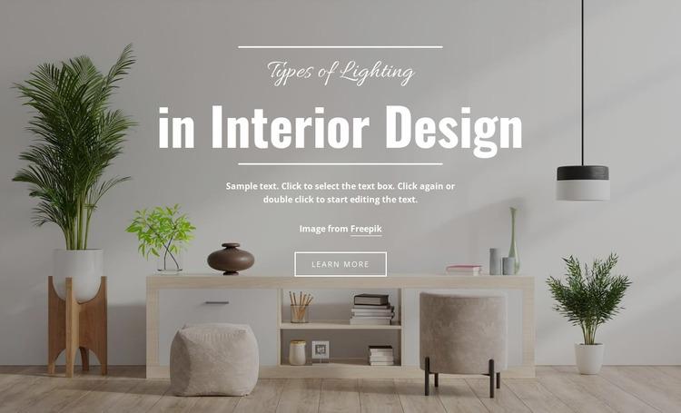 Lighting in Modern Interior Html Website Builder