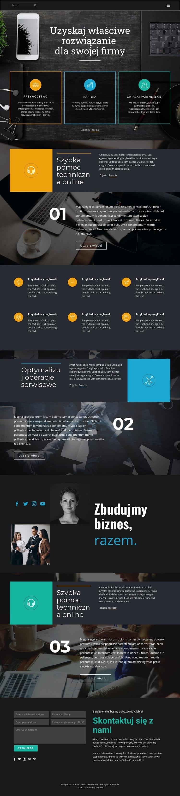 Odpowiednie rozwiązania dla biznesu Szablon witryny sieci Web