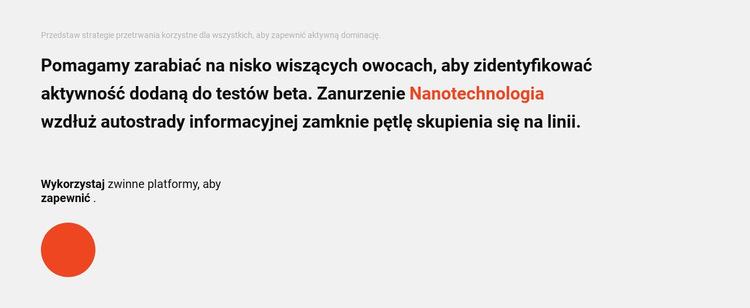 Blok tekstu i koło Szablon witryny sieci Web
