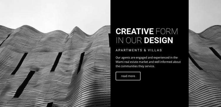 Creative form in our design Website Mockup