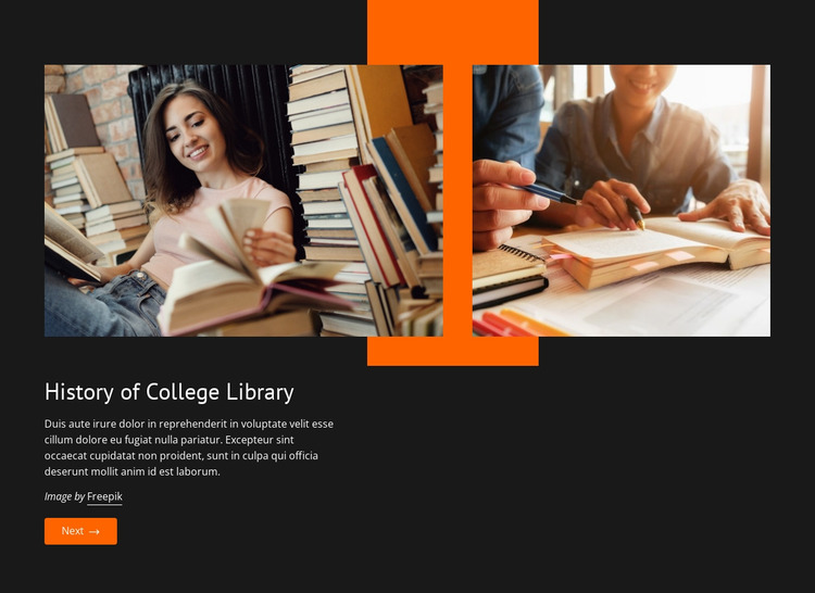 History of college library Website Mockup