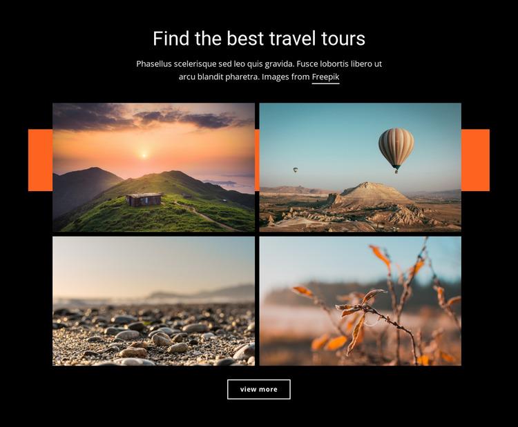 Find the best travel tours Website Mockup