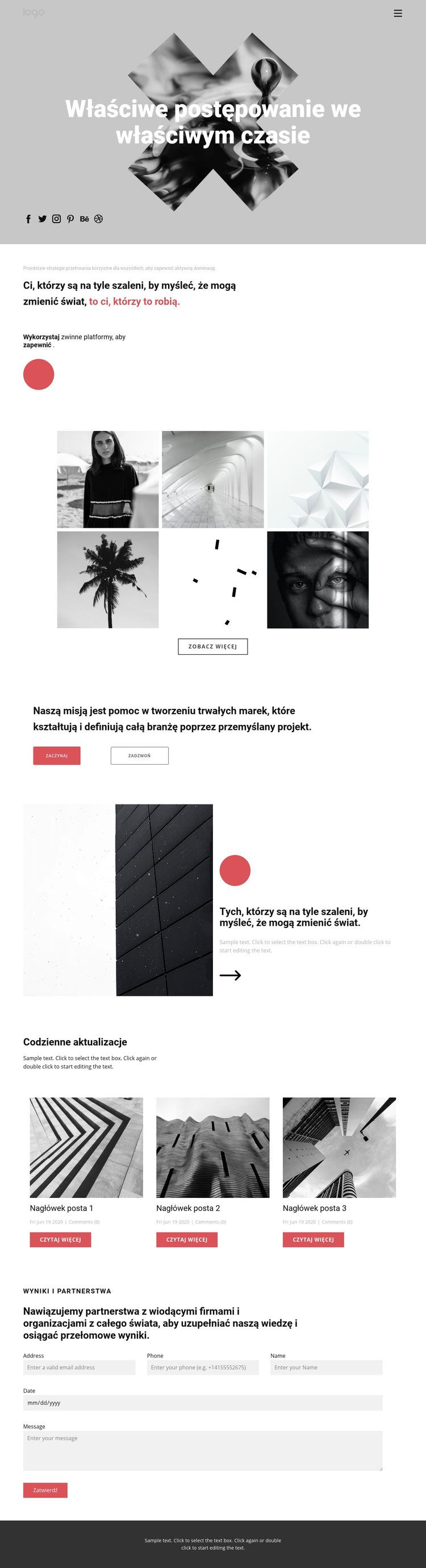 Pomysły w kreatywnym portfolio Szablon witryny sieci Web