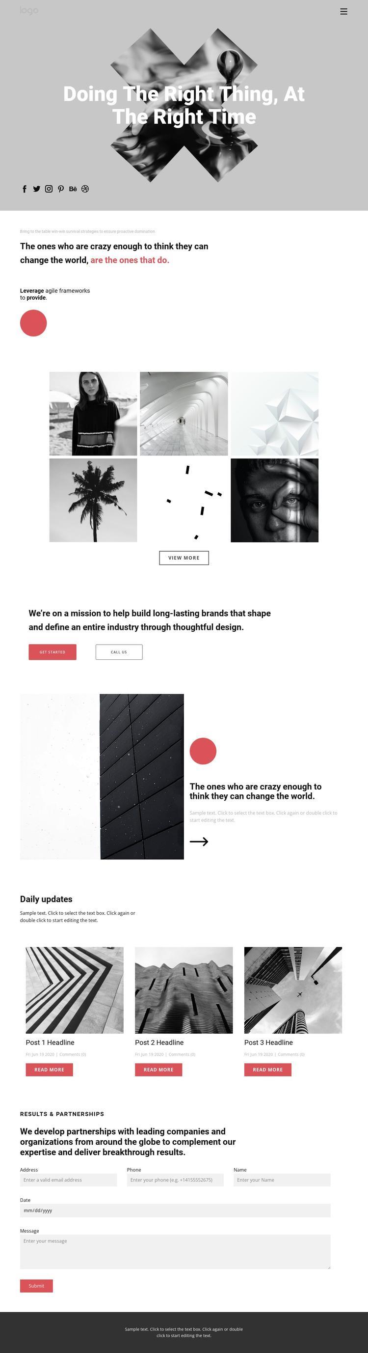 Ideas in creative portfolio Web Design