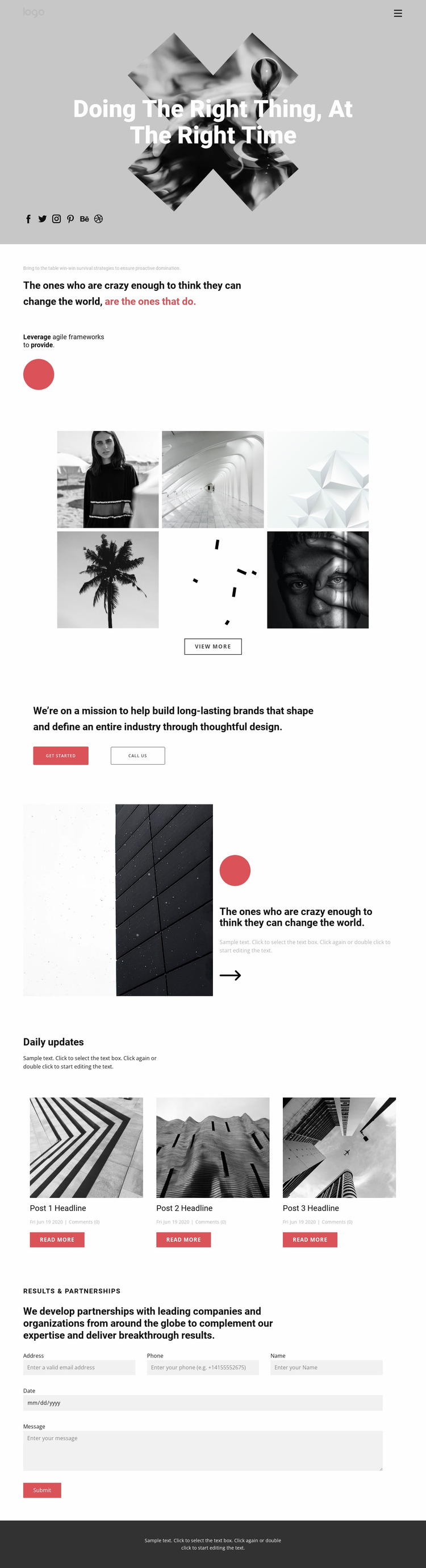 Ideas in creative portfolio Website Mockup