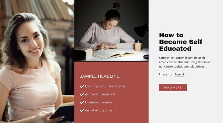 Education without school Website Mockup