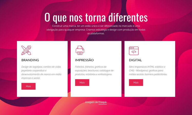 Branding e estúdio criativo digital Modelo de site