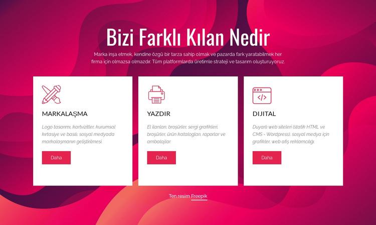 Markalaşma ve Dijital Yaratıcı Stüdyo Web Sitesi Şablonu