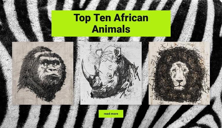 Drawings African animals Website Mockup