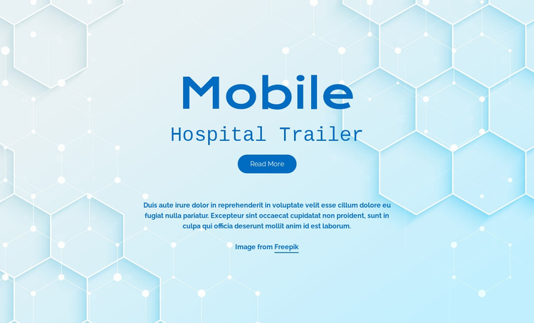 Mobile hospital services Landing Page