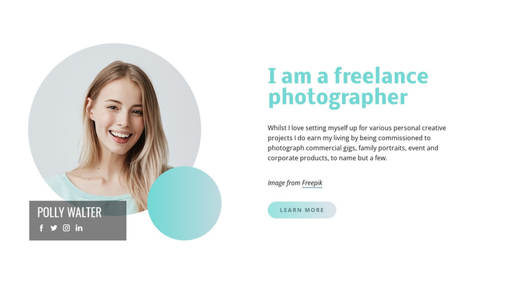 I am a freelance photographer Joomla Template