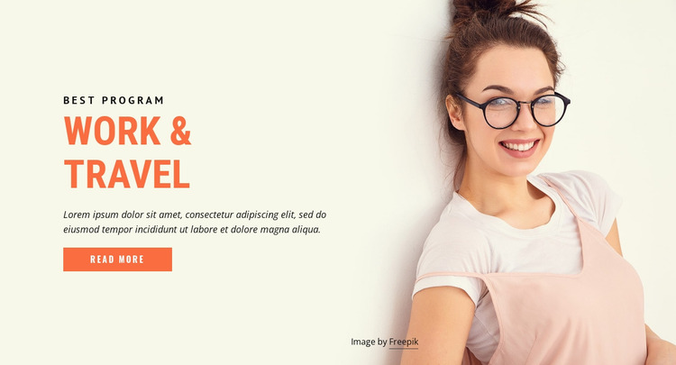 Programs to work and travel  Website Mockup