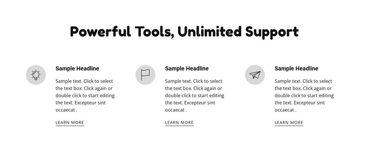Powerful tools and support HTML Template