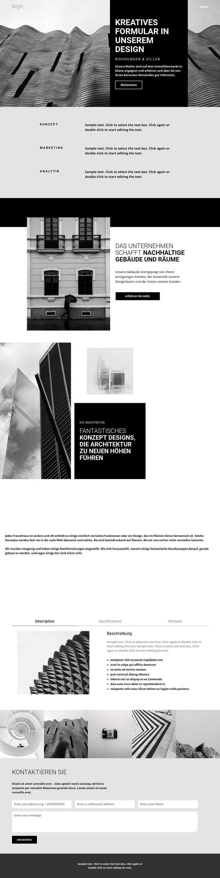 Kreative Konzeptarchitektur Website-Vorlage