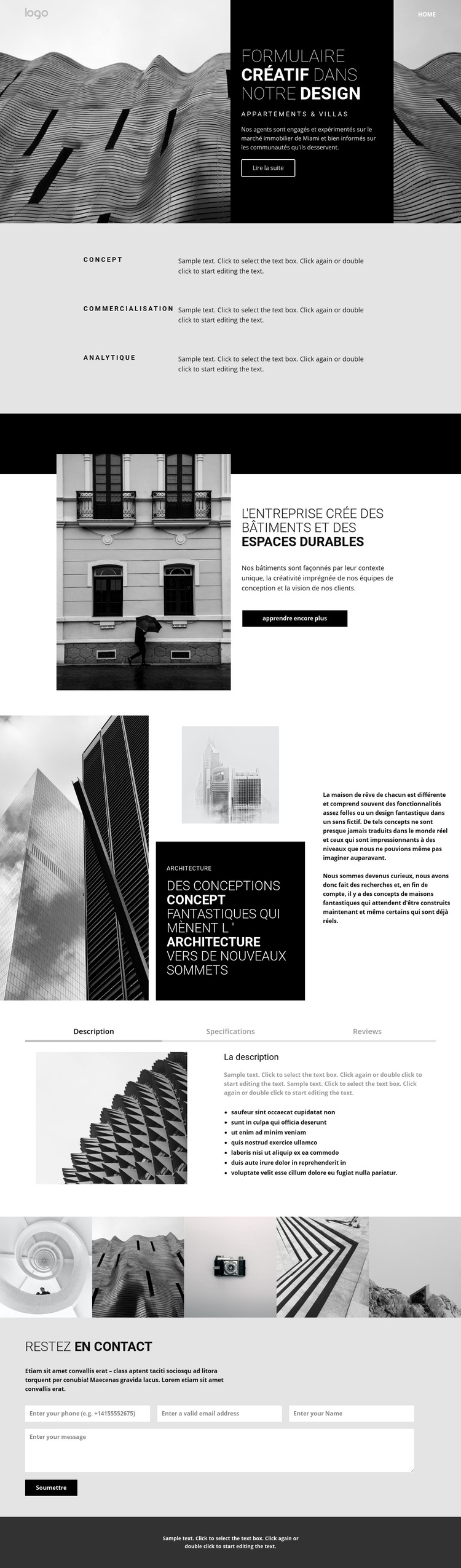 Architecture de concept créatif Modèle de site Web