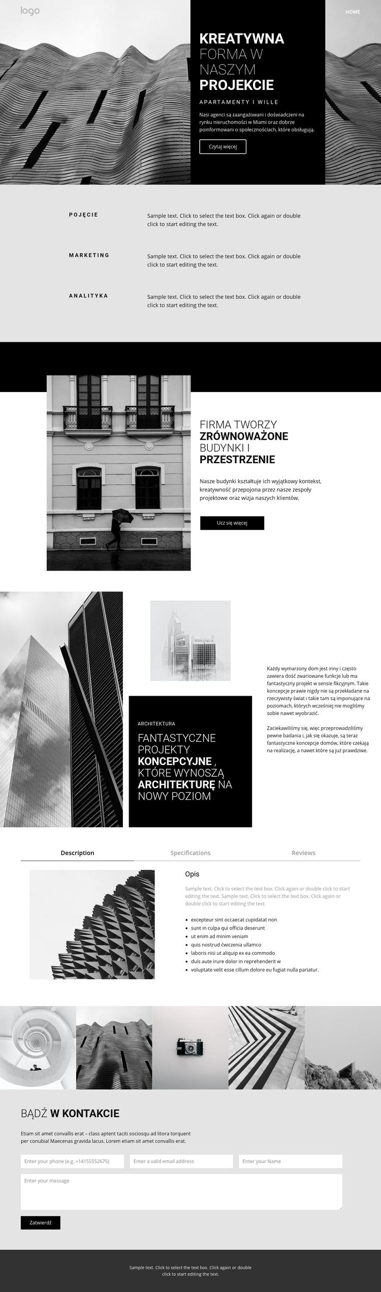 Kreatywna architektura koncepcyjna Szablon witryny sieci Web