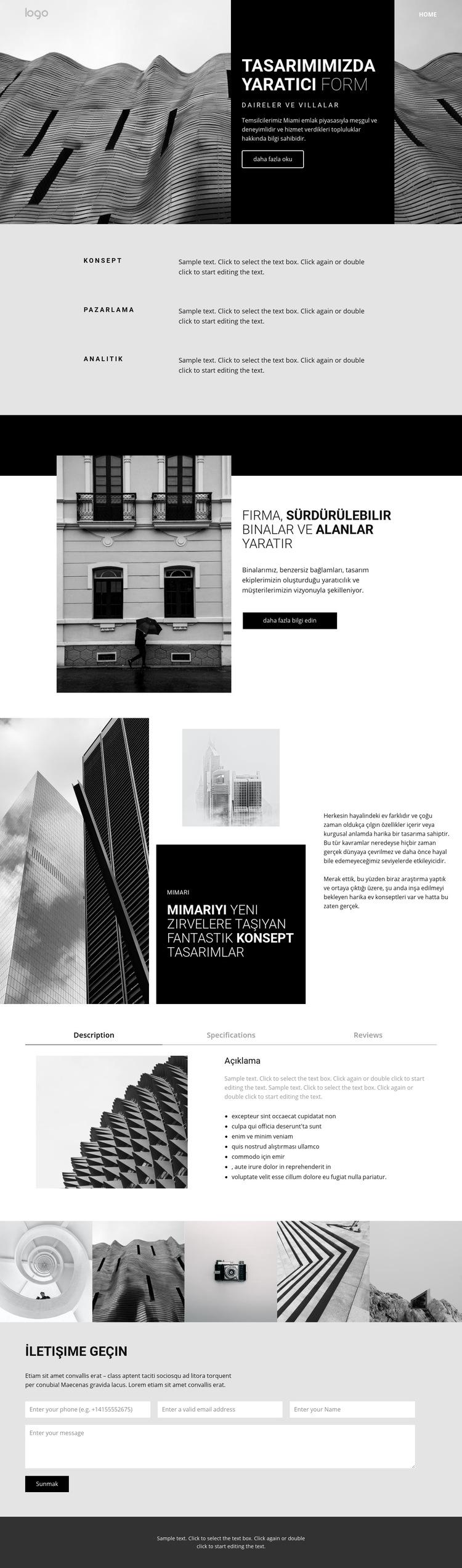 Yaratıcı konsept mimarisi Web Sitesi Şablonu