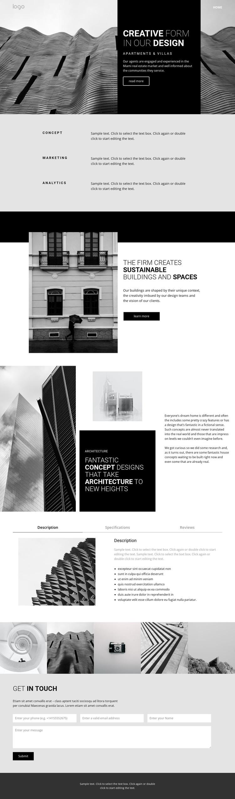 Creative concept architecture Web Design