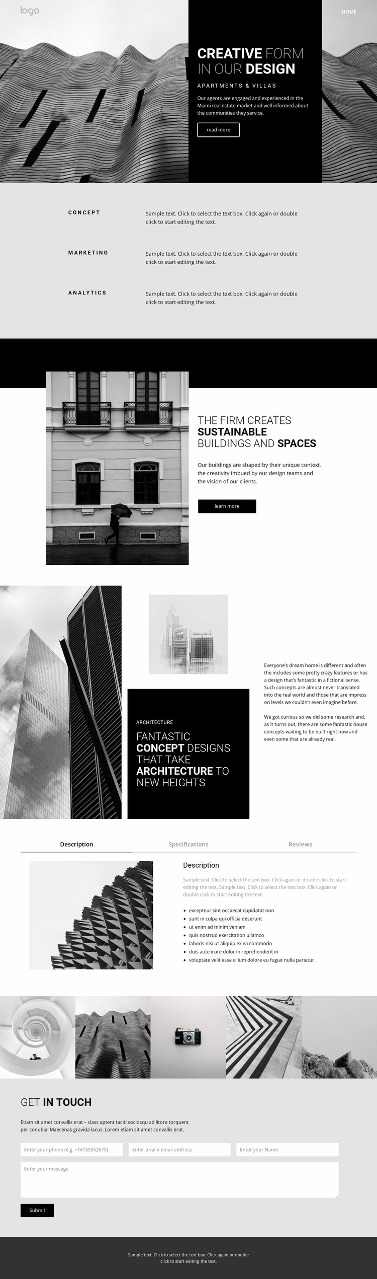 Creative concept architecture Website Mockup