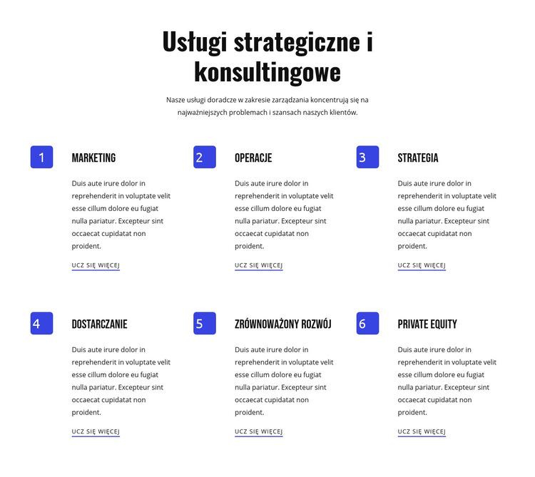 Usługi strategiczne i zwinne Szablon witryny sieci Web
