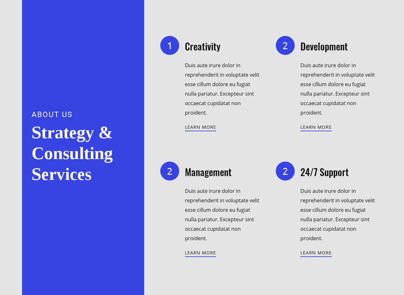 Strategy & Consulting Services Web Page Design