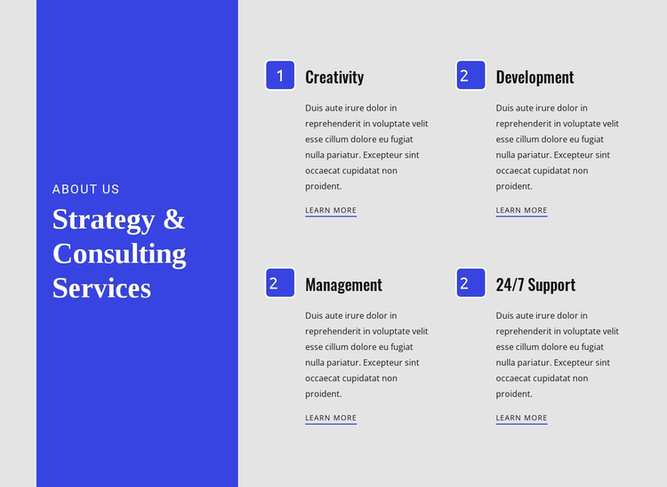 Strategy & Consulting Services Website Design