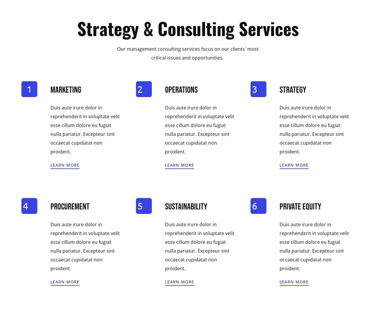 Strategy and agile services Landing Page