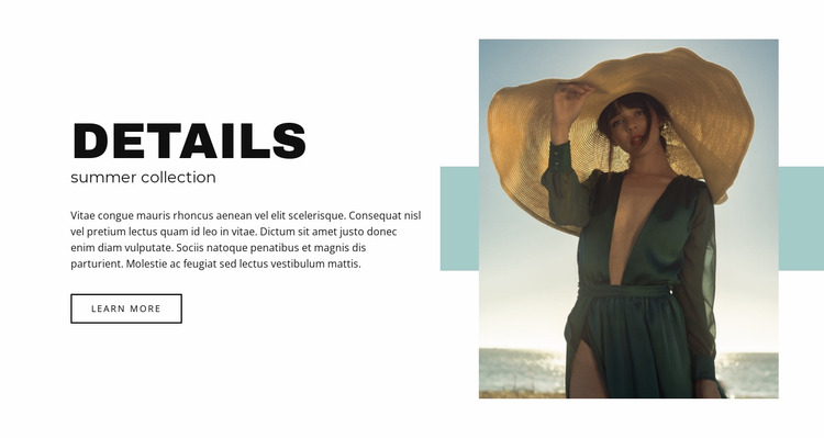 Summer collection Website Mockup