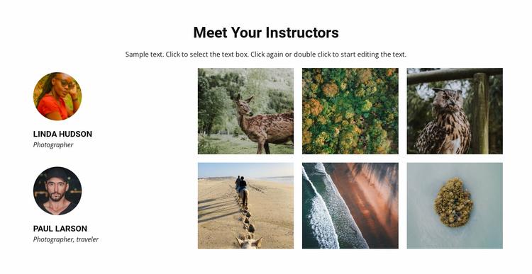 Meet your travel instructors Website Template