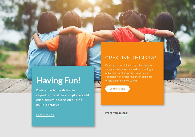 Learning Activities for Kids Website Mockup