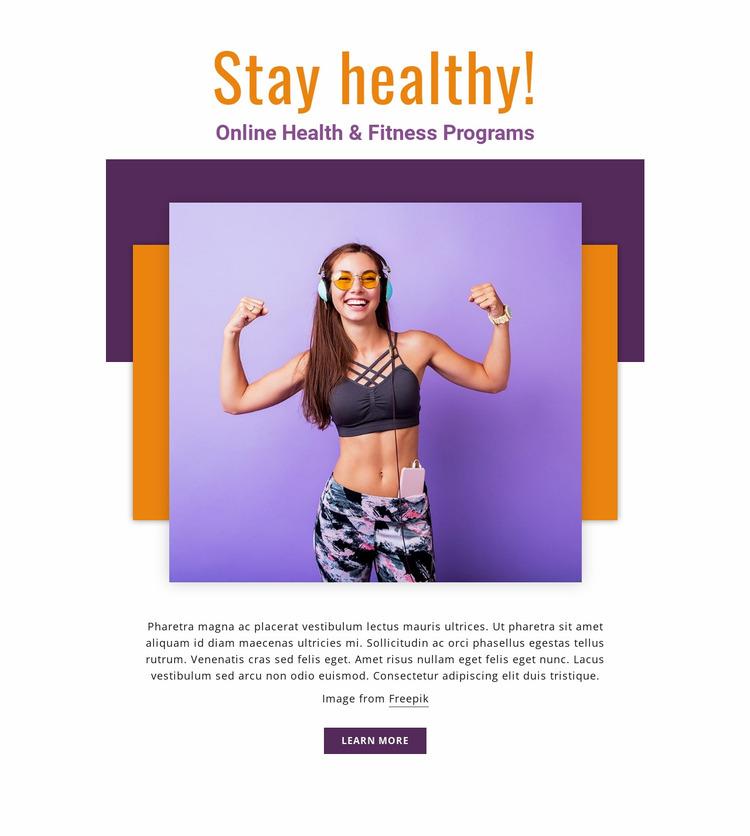 Online Fitness Programs Website Mockup