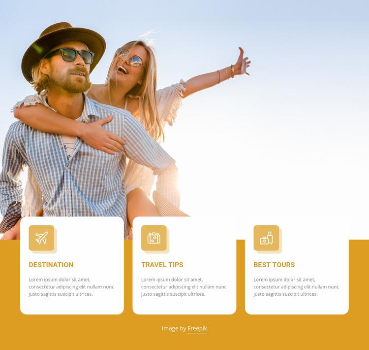 Travel agency propositions Website Builder